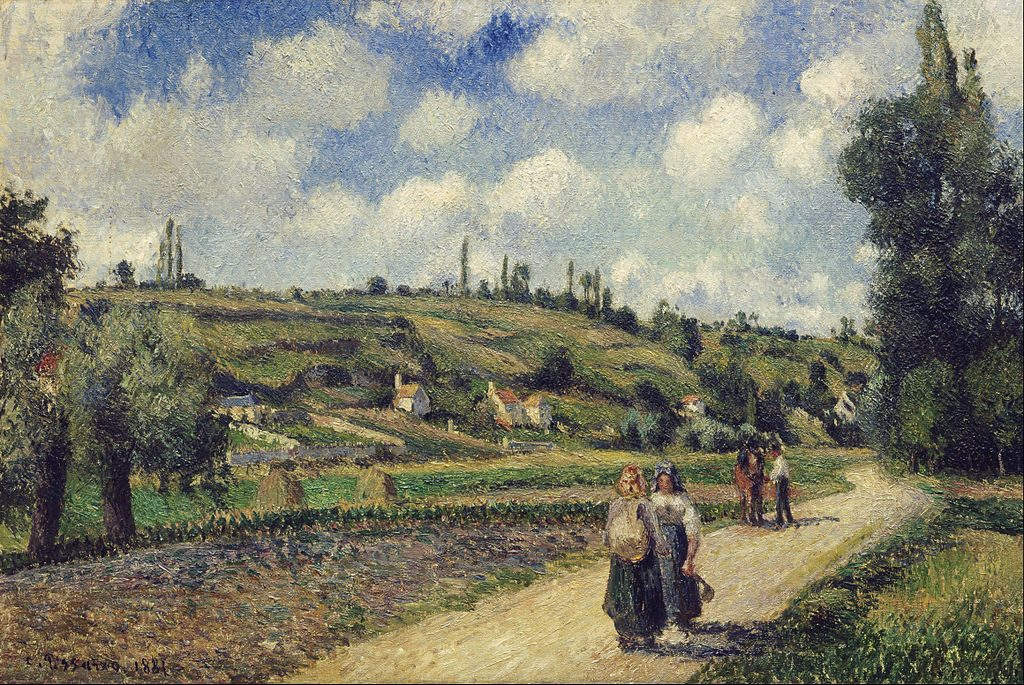 French Landscapes - Auvers - Pontoise road - Painting by Camille Pissarro