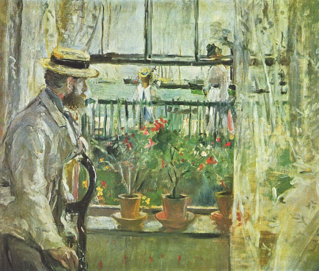 Eugene Manet looking out the window - Painting by the female artist Berthe Morisot