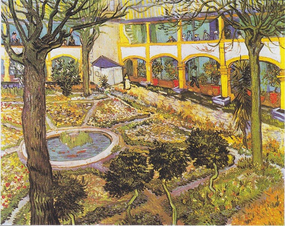 The hospital gardens in Arles by Van Gogh