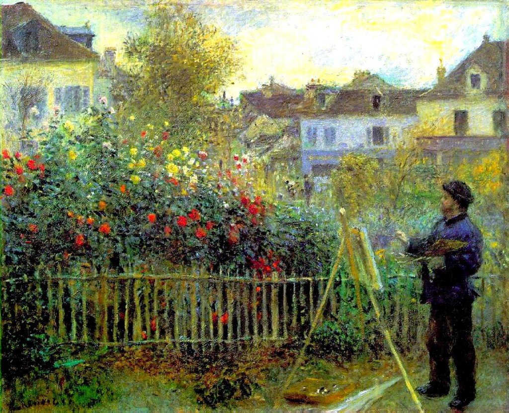 Renoir's portrait of Monet Painting in Giverny