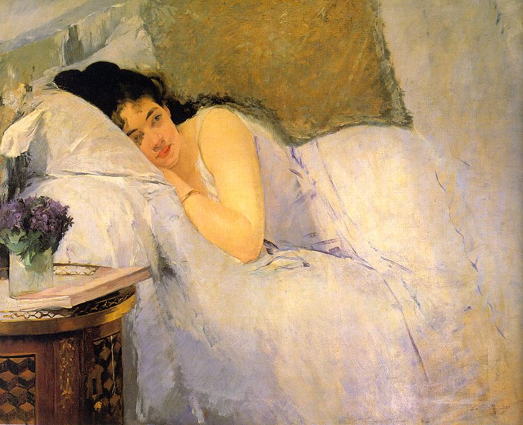 Woman lying in bed painted by Eva Gonzales