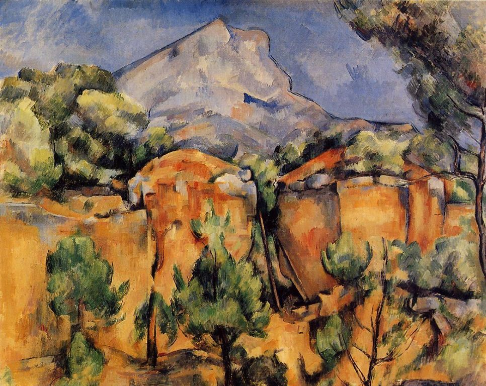 The view of Mt. St-Victoire from the   Carrières de Bibémus  - Paul Cezanne Painting