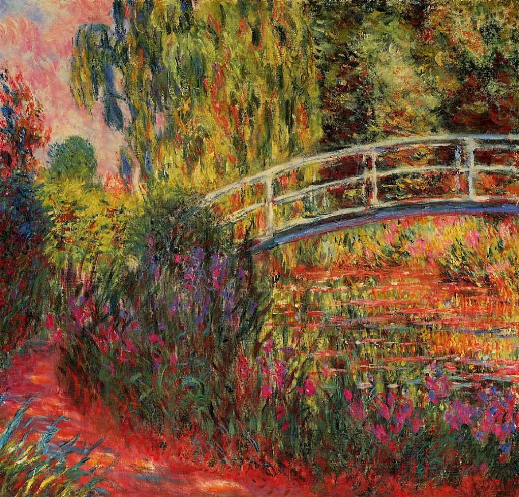 The Water-Lily Pond (also known as Japanese Bridge) (1900) - Impressionist Art-Monet