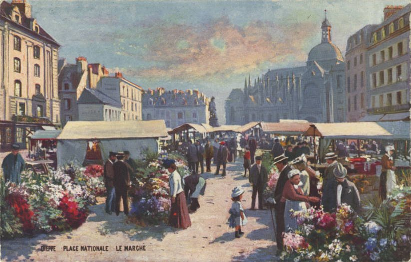 An old postcard showing the centuries old Dieppe market