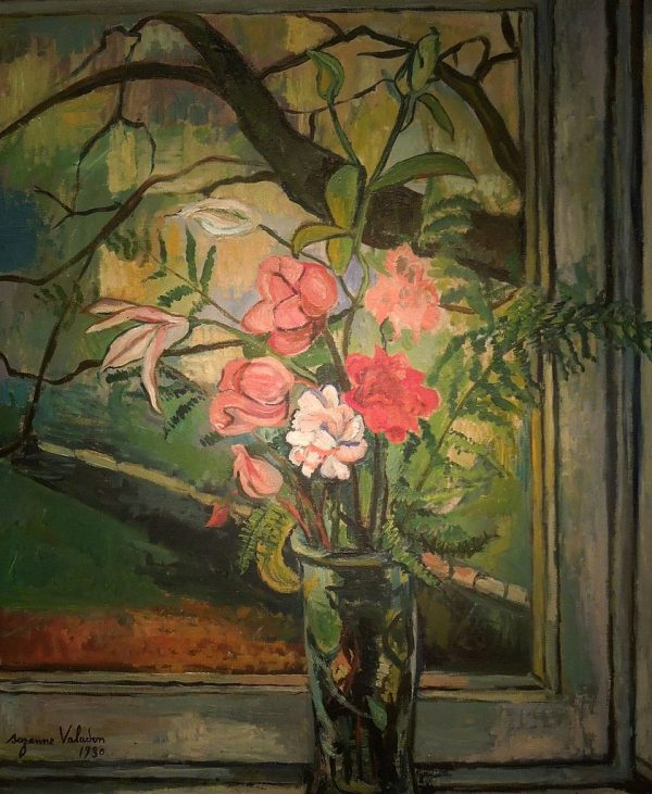 Suzanne Valadon Painting - Flowers in Front of a Window