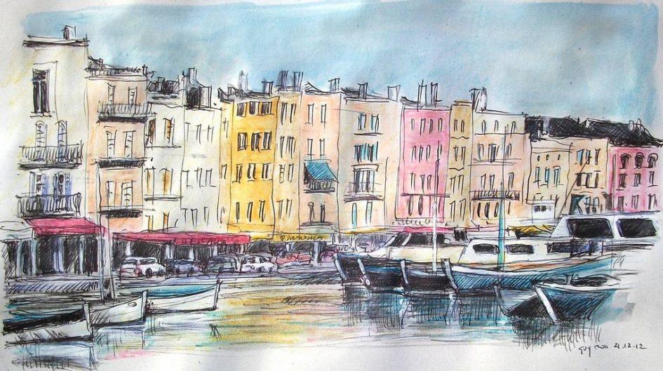 Painting of Saint Tropez harbour