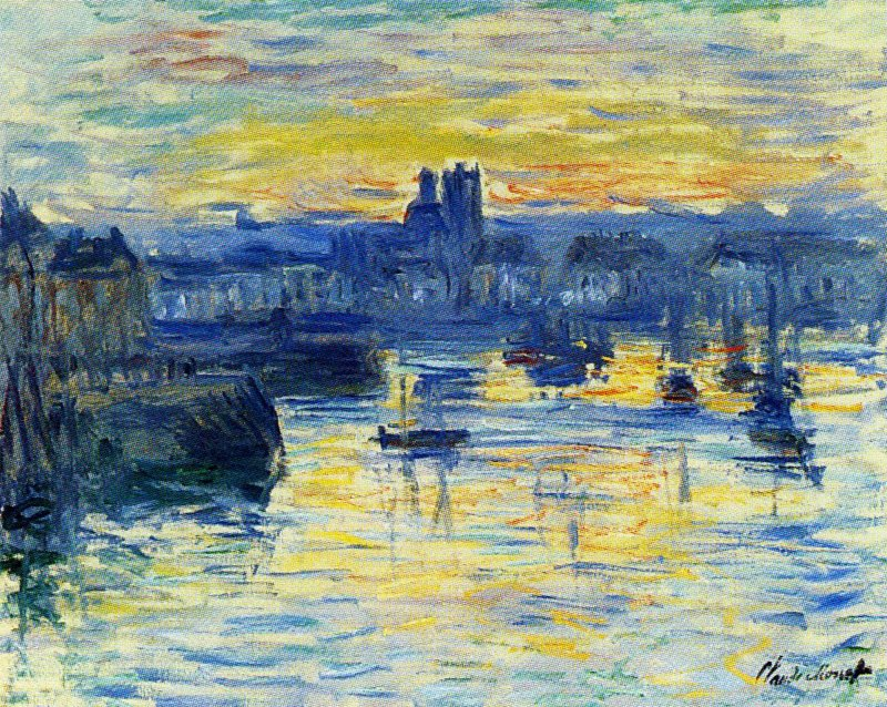 Port of Dieppe, Evening - Claude Monet