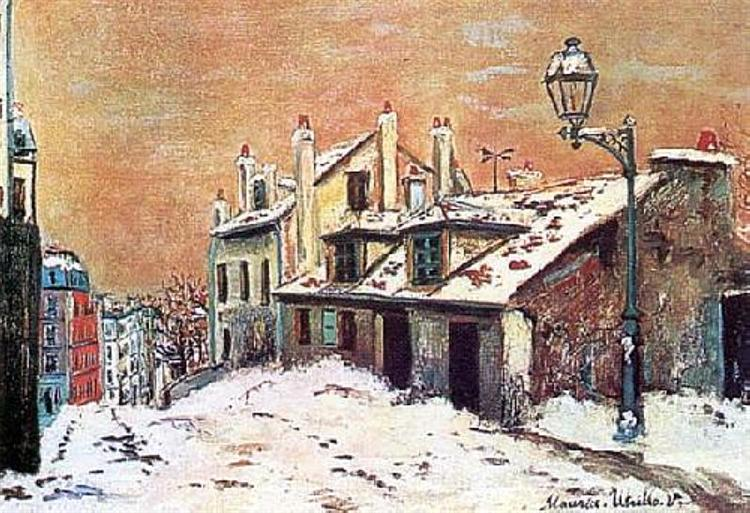 Winter scene in Montmartre - Maurice Utrillo art