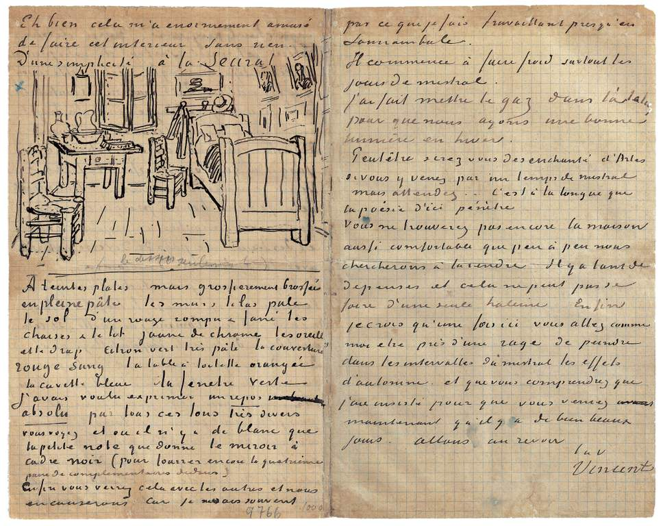 Vincent Van Gogh picture of his bedroom in his letter to Theo