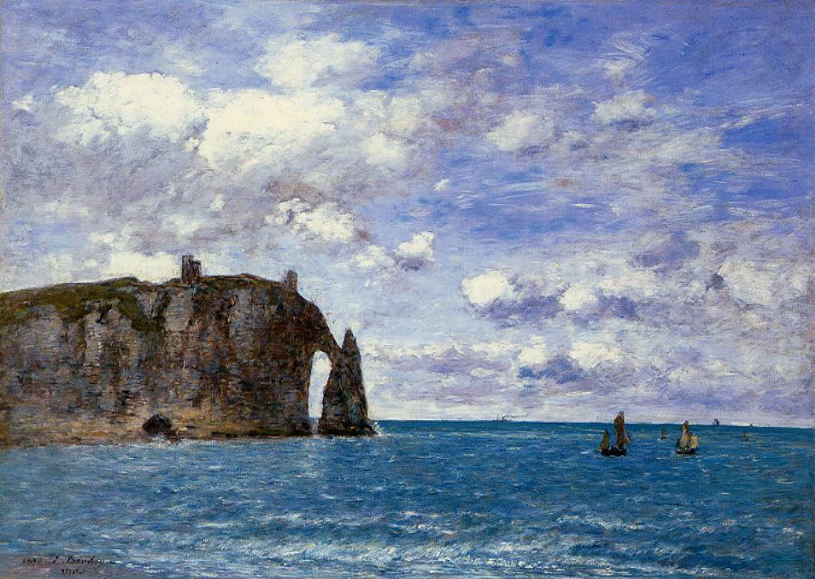 Eugene Boudin - Etretat Cliffs - impressionism paintings
