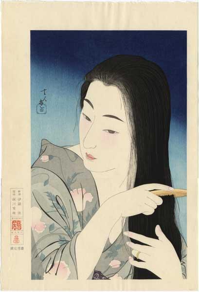 Japanese art - ukiyo-e print of a woman combing her hair