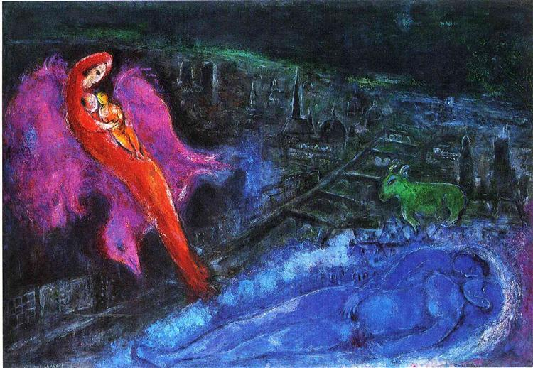 Bridges over the Seine - Marc Chagall Painting