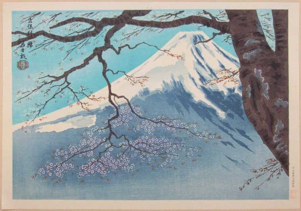 Ukiyo-e vintage print of cherry blossoms and a snow-capped mountain in the background