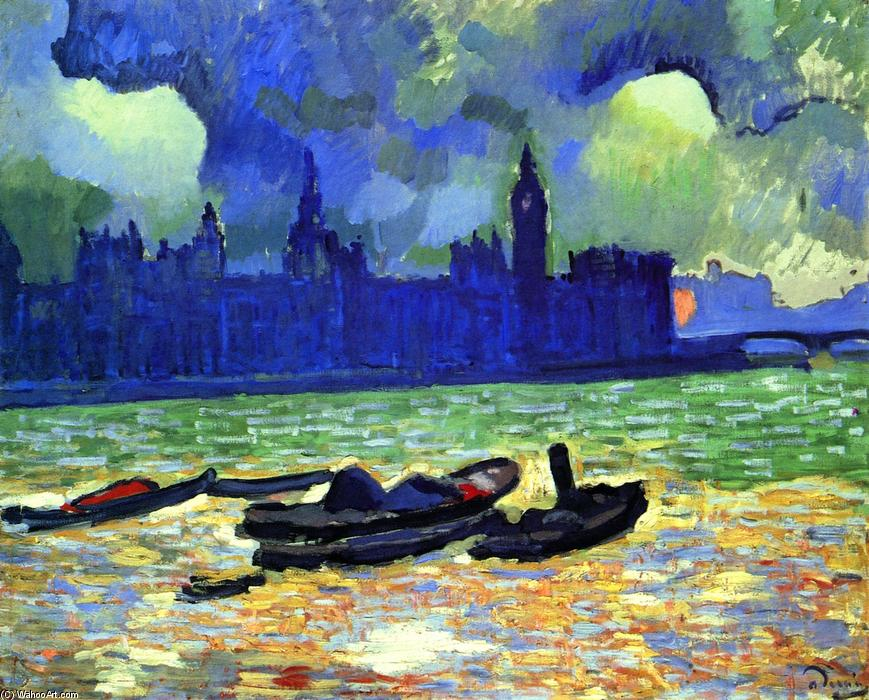 Andre Derain - Fauvism Painting - Parliament house at night