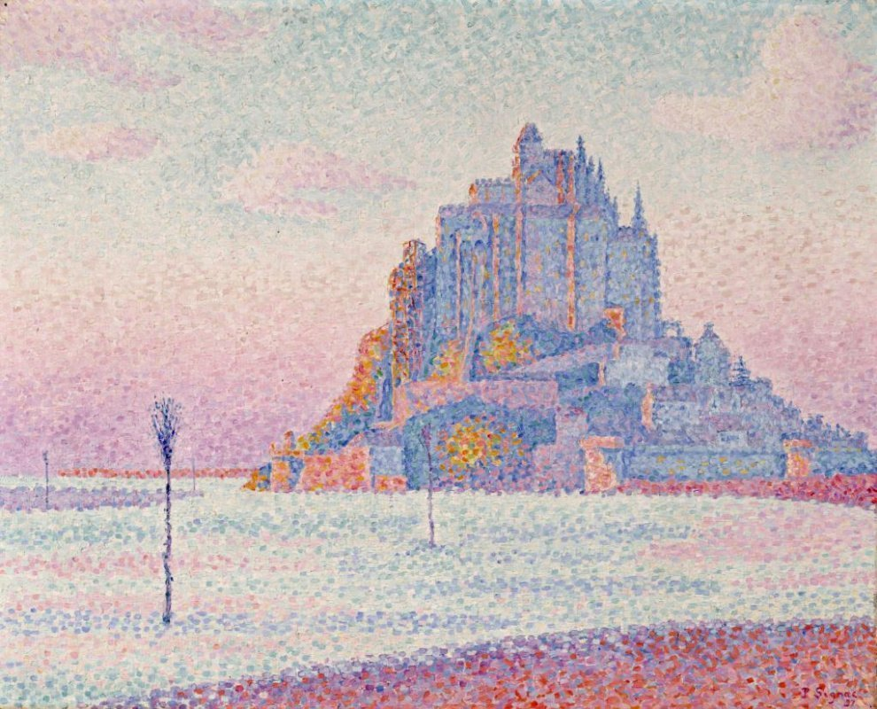 Seurat Painting of Mont Saint Michel in Normandy