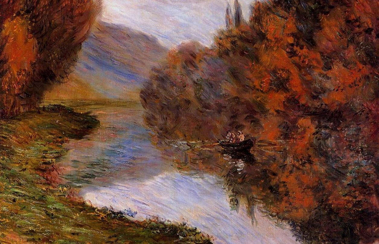 Rowboat on the Seine at Jeufosse - Claude Monet Painting
