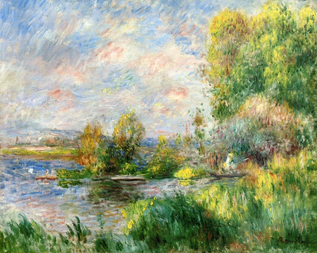 The Seine at Bougival - Pierre-Auguste Renoir Painting