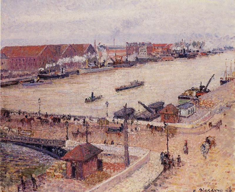 Industrial Port of Rouen - Camille Pissarro Painting