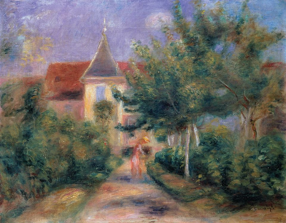 A painting fo the Gardens & House of Renoir in Essoyes