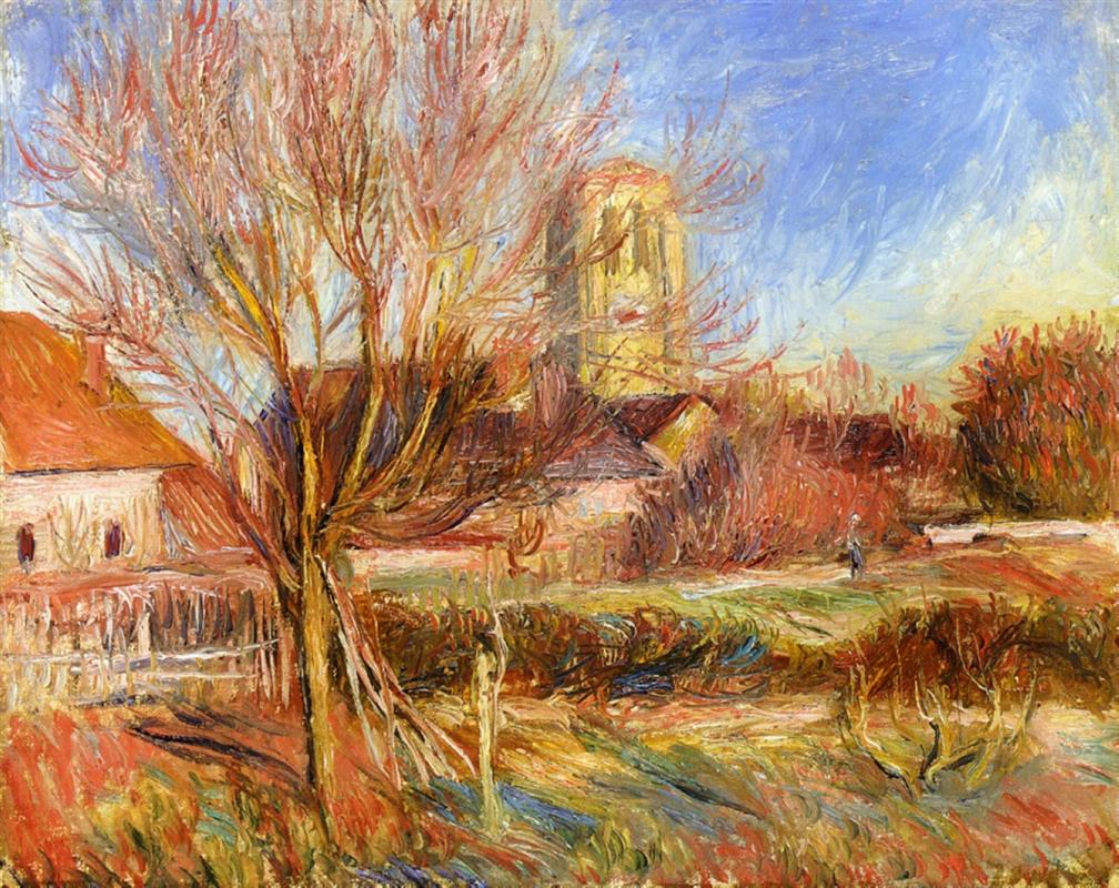 The Church at Essoyes - Renoir landscape painting