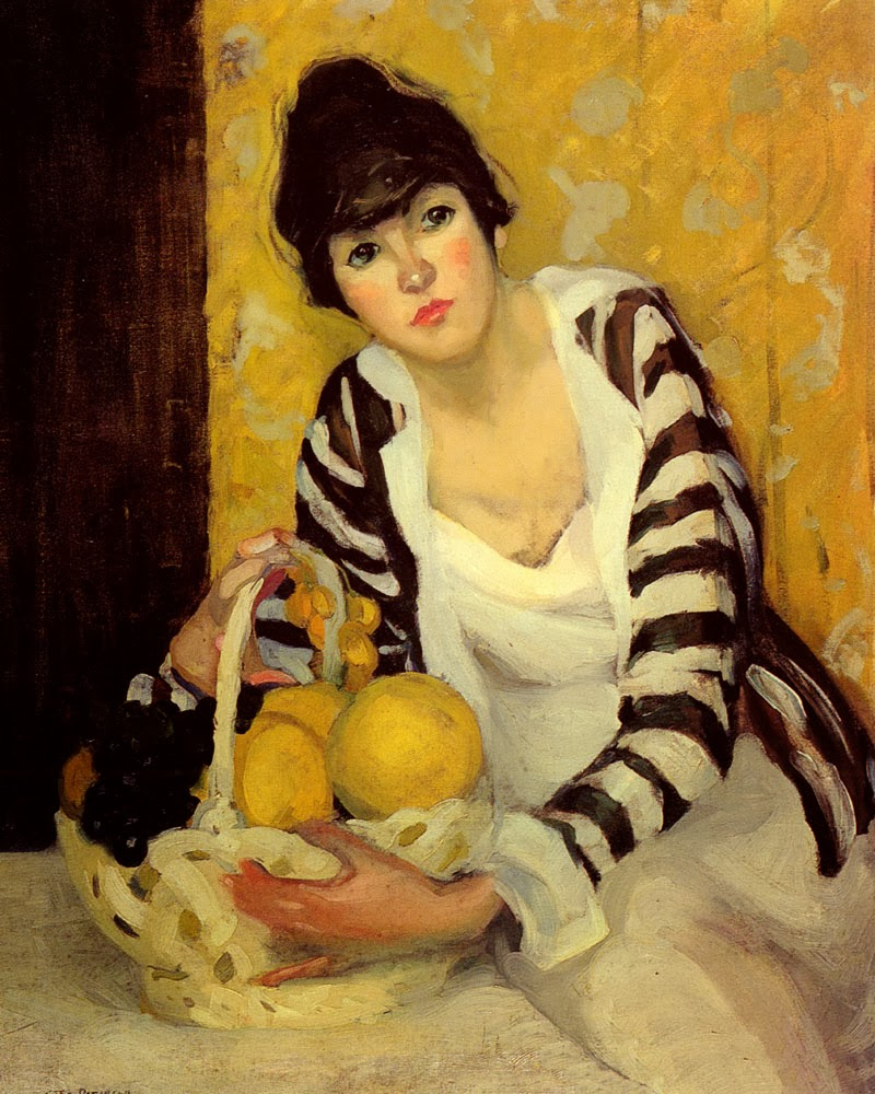 Jane Peterson painting of a woman and a basket of fruit