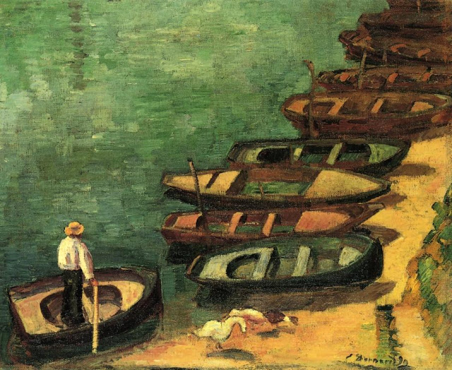 Boats in Pont Aven -  Emile Bernard painting