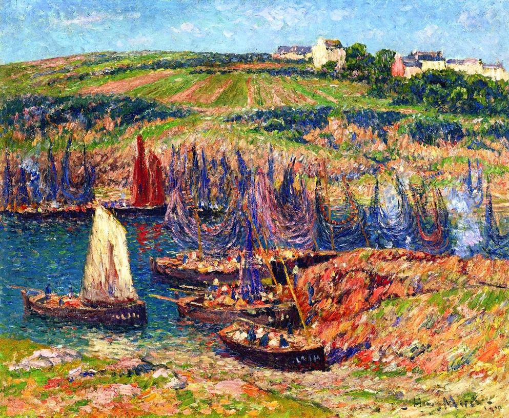 Sardine Fisherman on the Coast of Brittany -y Henri Moret paintings