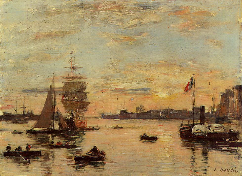 Le Havre Port - Eugene Boudin en plein air Painting