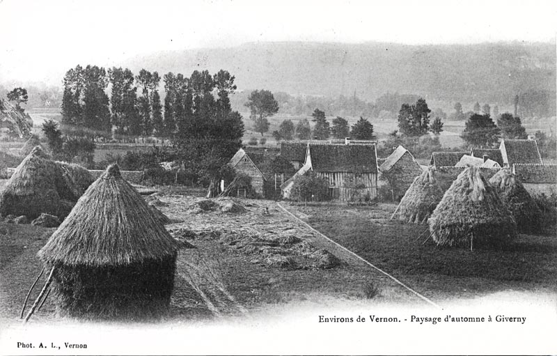 Giverny haystacks  & countryside - Vintage photo