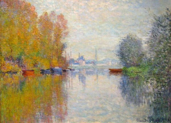 Autumn on the Seine at Argenteuil- By the French Impressionist Claude Monet