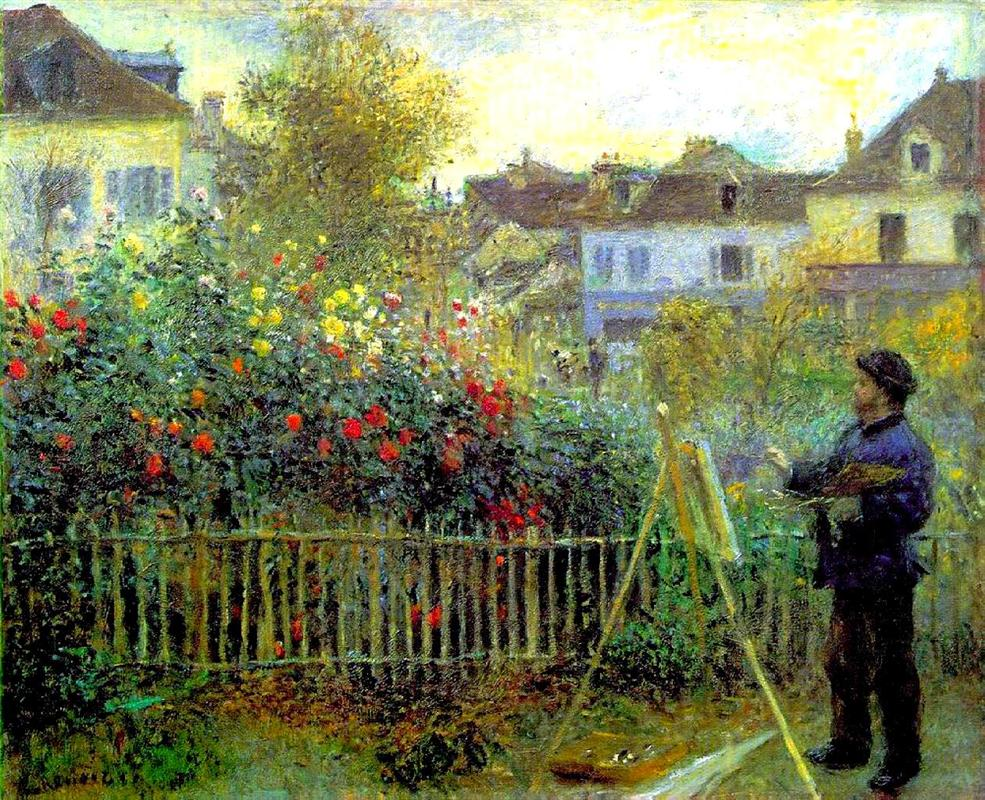 Monet painting in his garden at Argenteuil / Painting by Pierre-Auguste Renoir