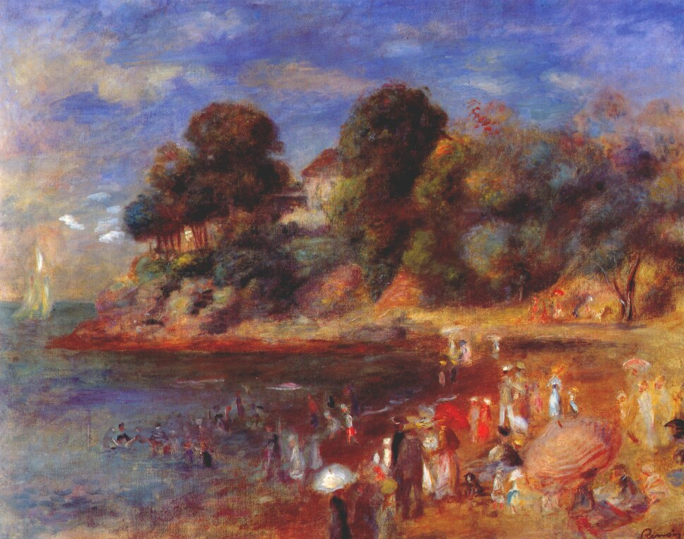 Pierre Auguste Renoir painting of Pornic beach, Brittany