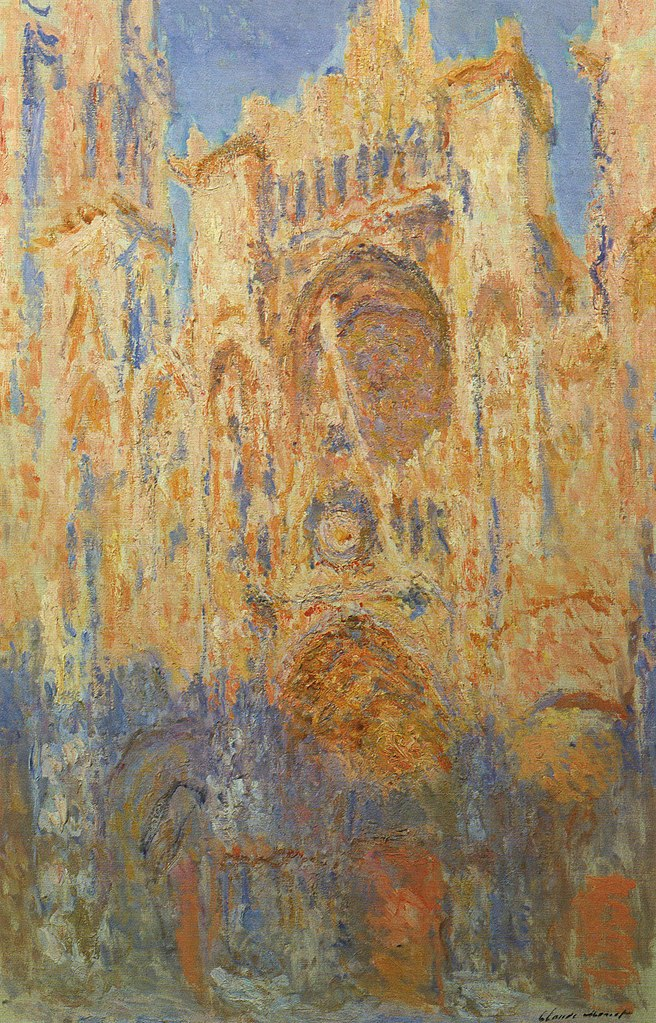 Rouen Cathedral, Facade (Sunset) - Claude Monet Painting