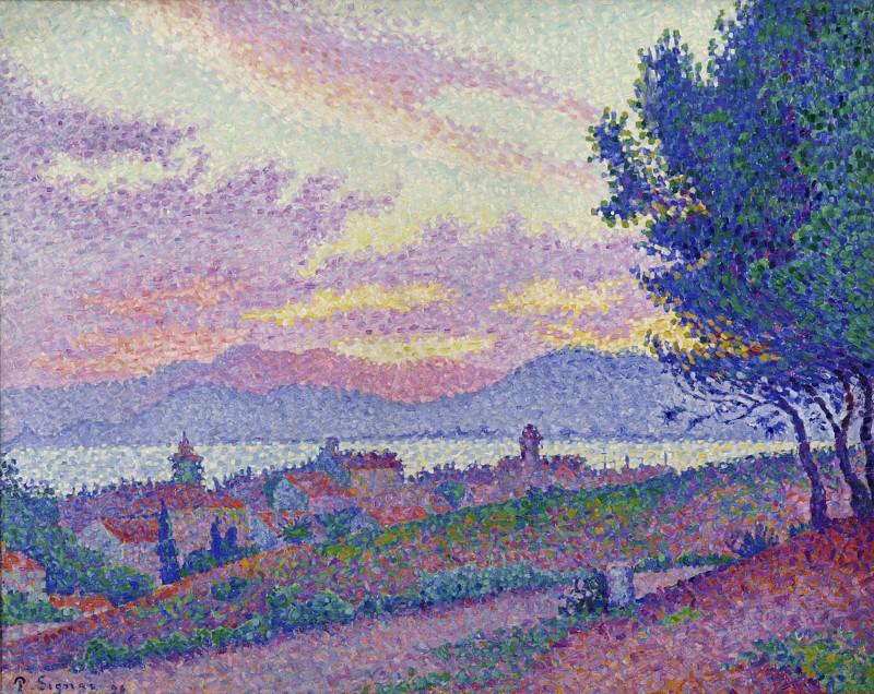 Paul Signac painting:View of Saint-Tropez, sunset in pine wood, 1896