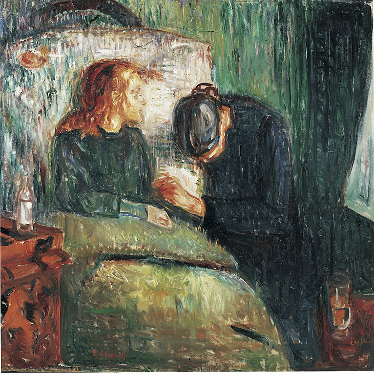 Edvard Munch painting portraying his sister dying of tuberculosis disease