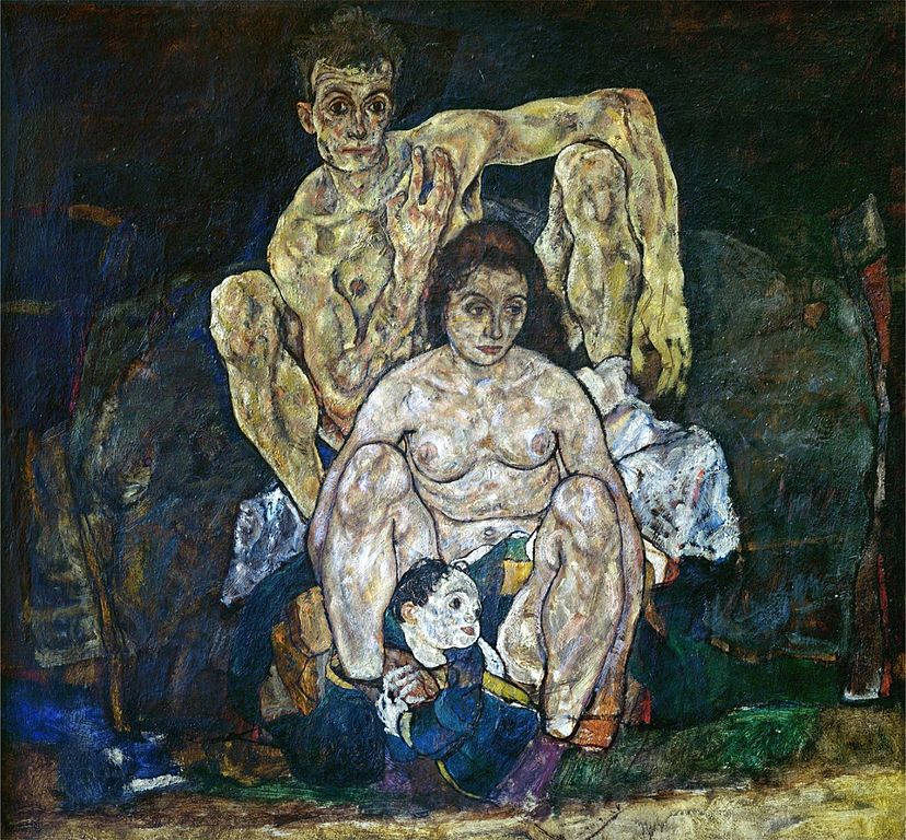 The unfinished Egon Schiele painting entitled: The Family - painted during the Spanish Flu pandemic