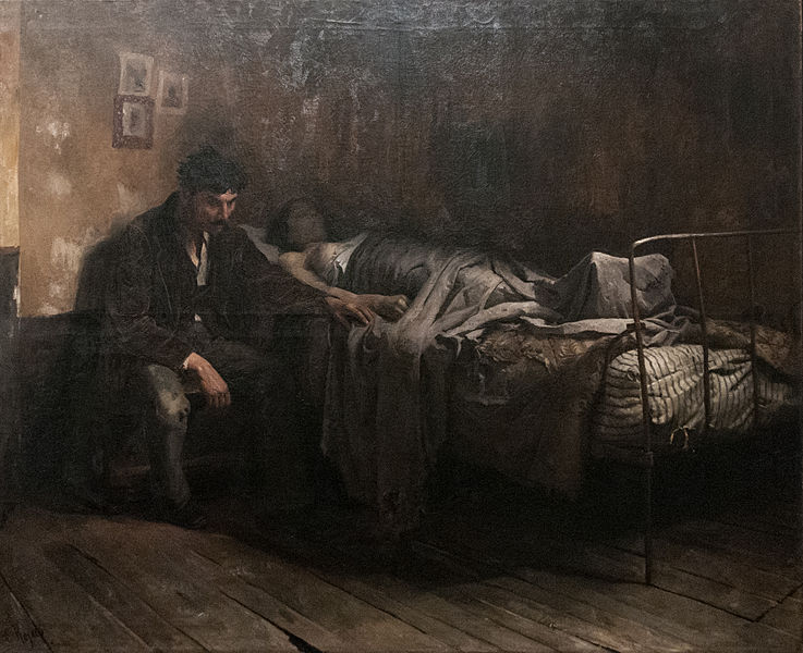 Cristobal Rojas painting portraying a person dying of tuberculosis disease