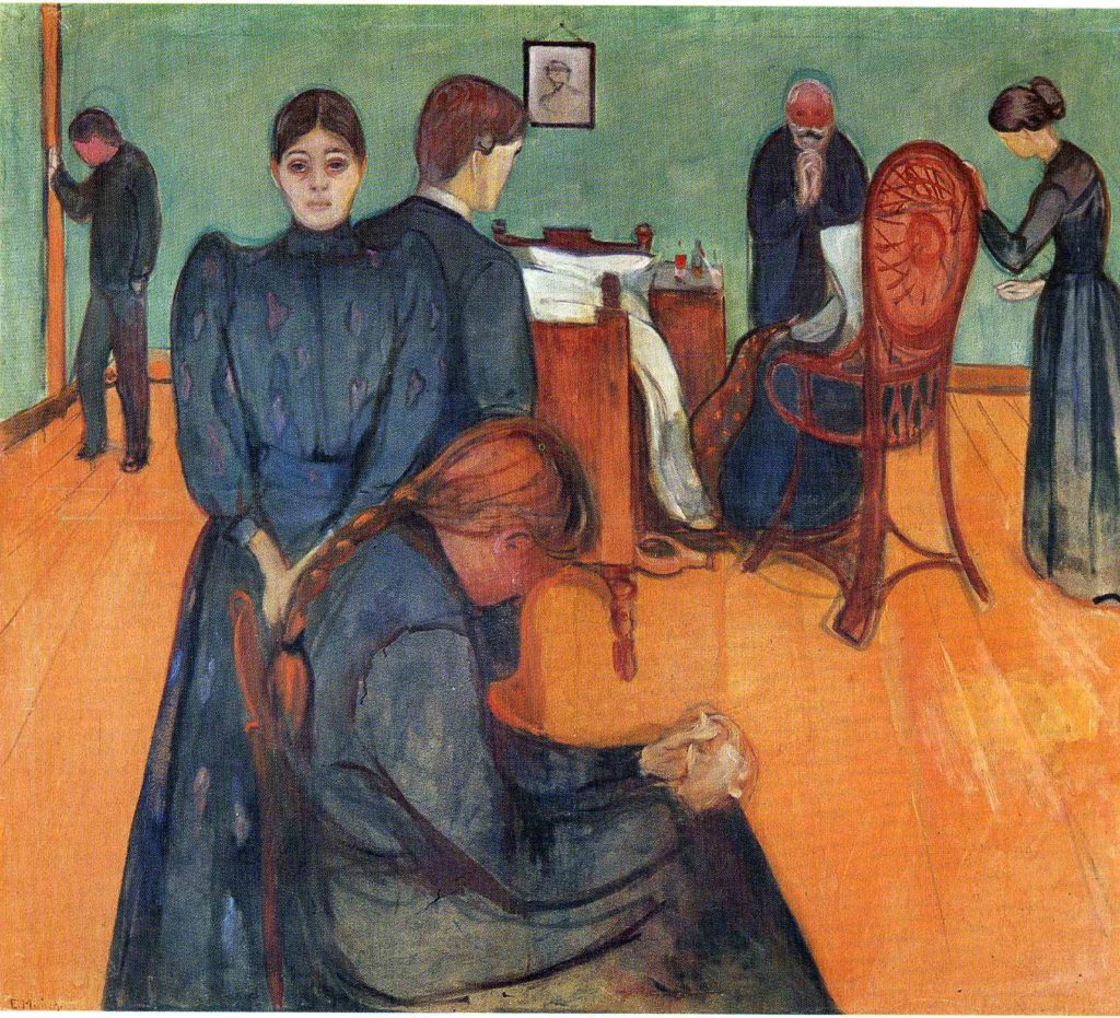 Death in the Sick Room - Edvard Munch painting  (Capturing the bedroom scene of his sister dying of tuberculosis disease)