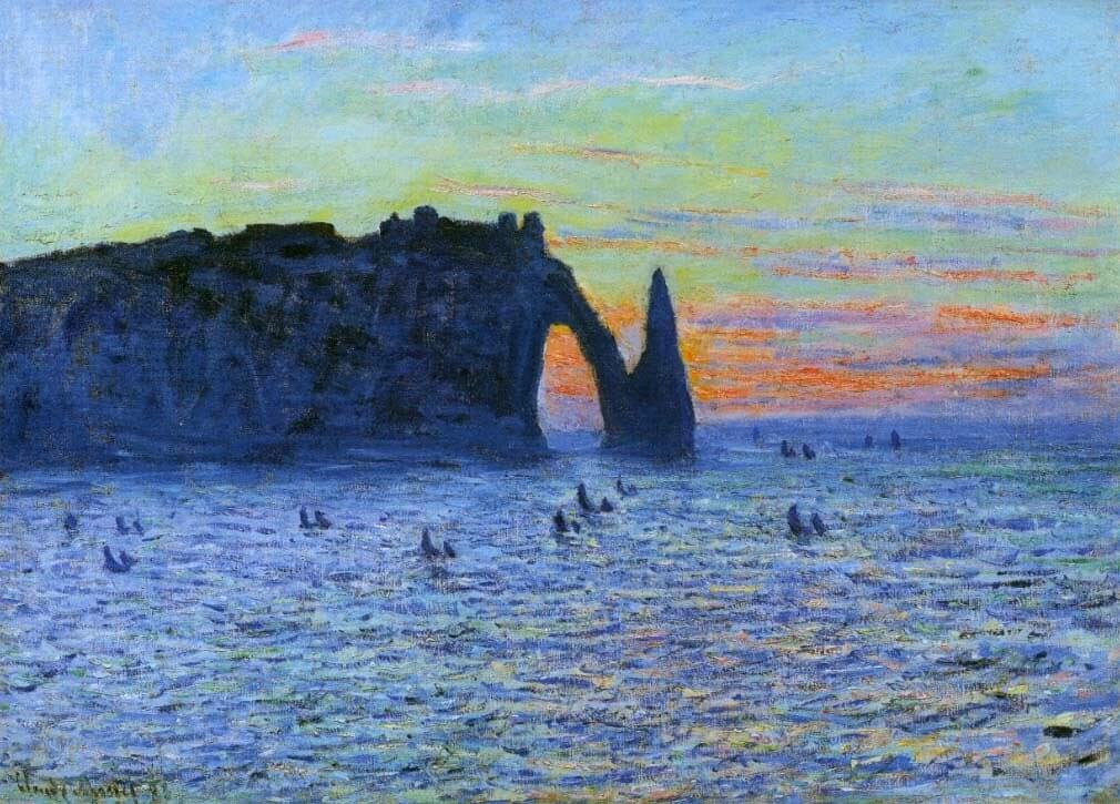 Claude Monet impressionism painting of Etretat, Normandy