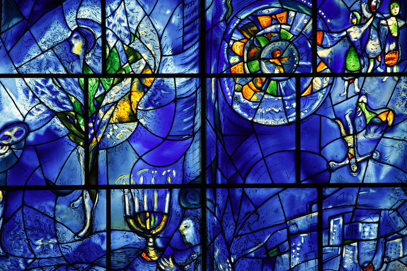 A close up section of the America Windows by Marc Chagall