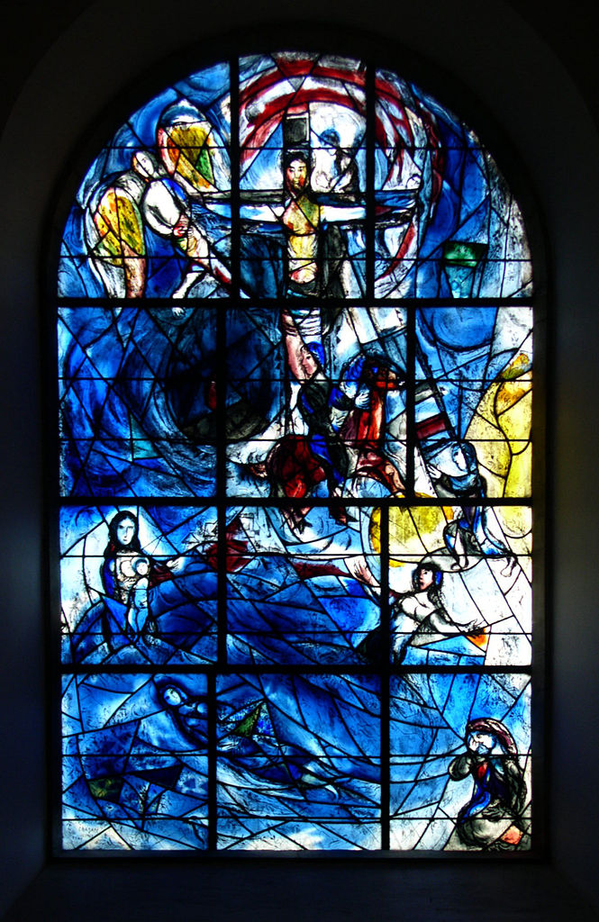 One of Marc Chagall Stained Glass Windows of All Saints' Church in Tudeley