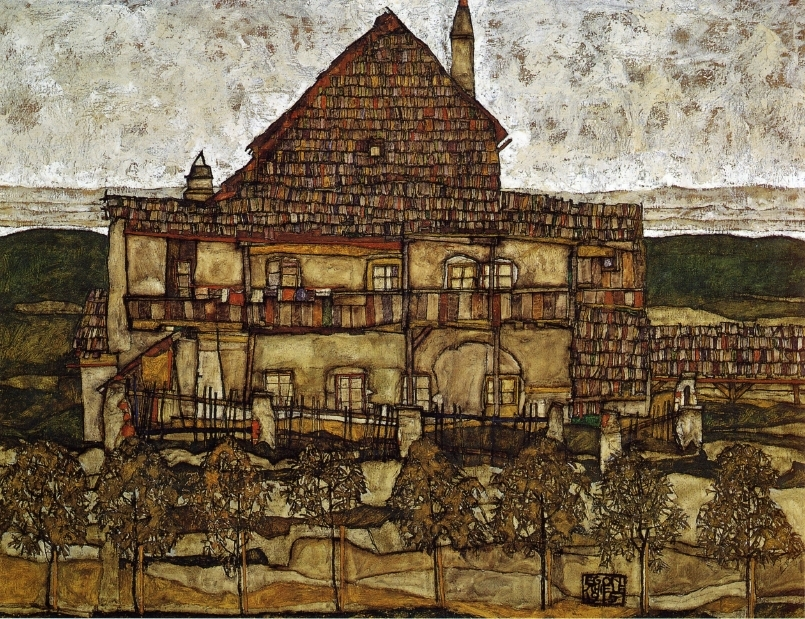 Egon Schiele Painting entitled Houses with Shingles