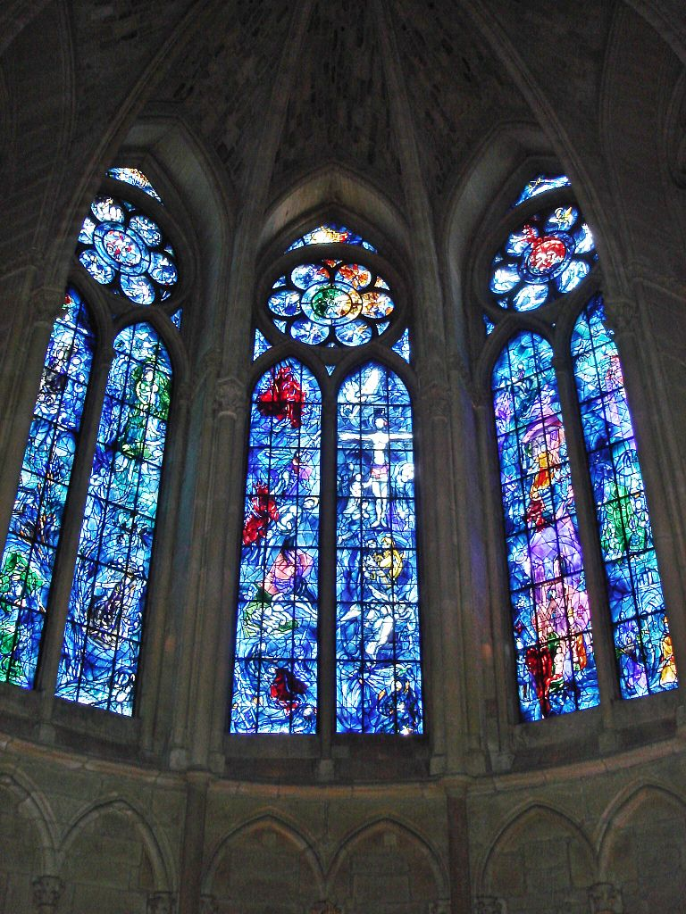 Marc Chagall Stained Glass Windows in Reims Cathedral, France