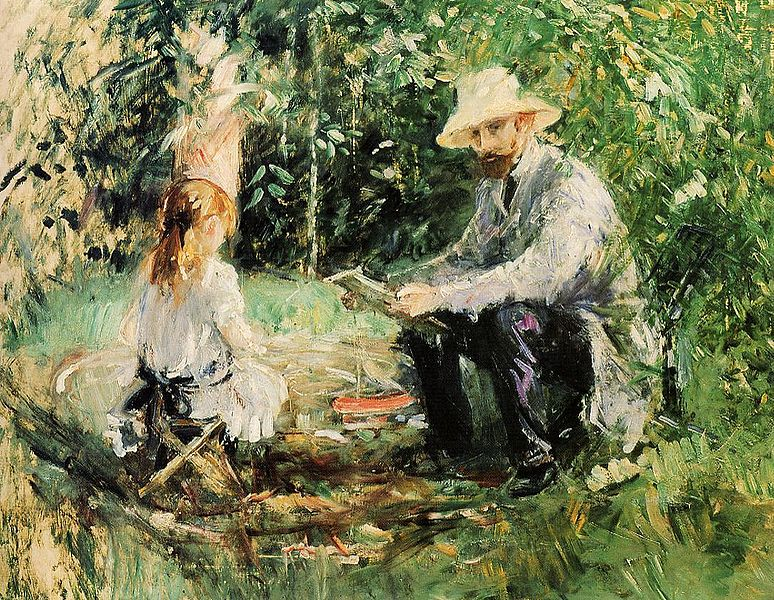 Berthe Morisot painting entitled: Eugène Manet and his Daughter in the Garden