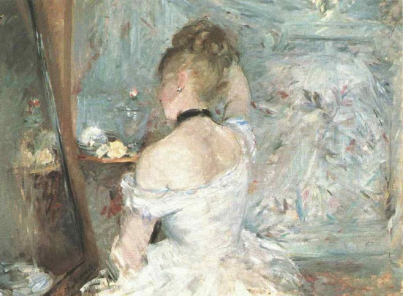 Berthe Morisot painting entitled: Woman at Her Toilette