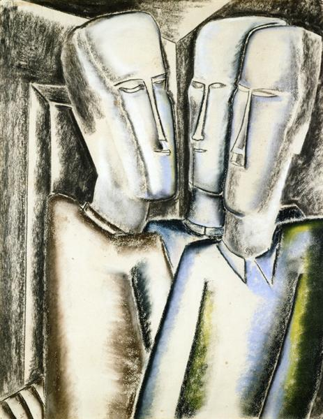 Ossip Zadkine Cubism Painting entitled Three Men