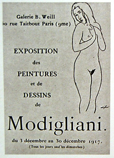 Poster advertising Amedeo Modigliani's one and only exhibition in Paris in 1917