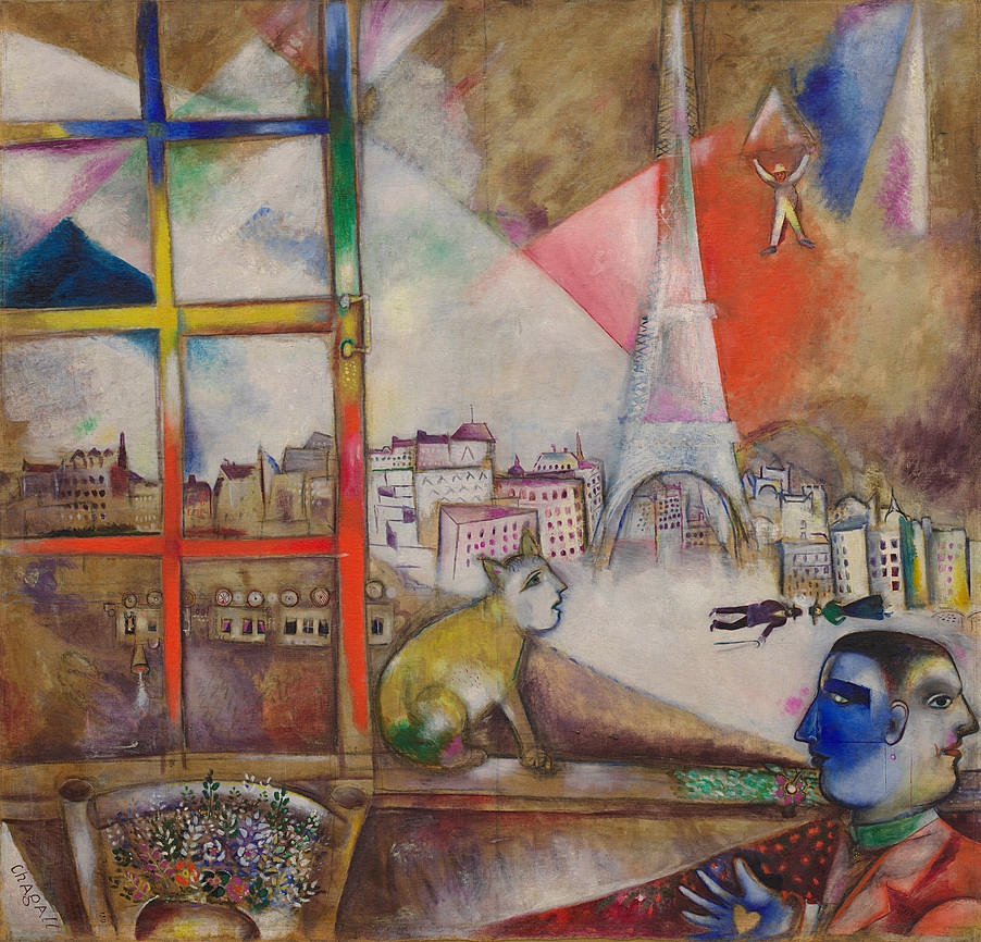 Marc Chagall Painting of Paris Through the Window