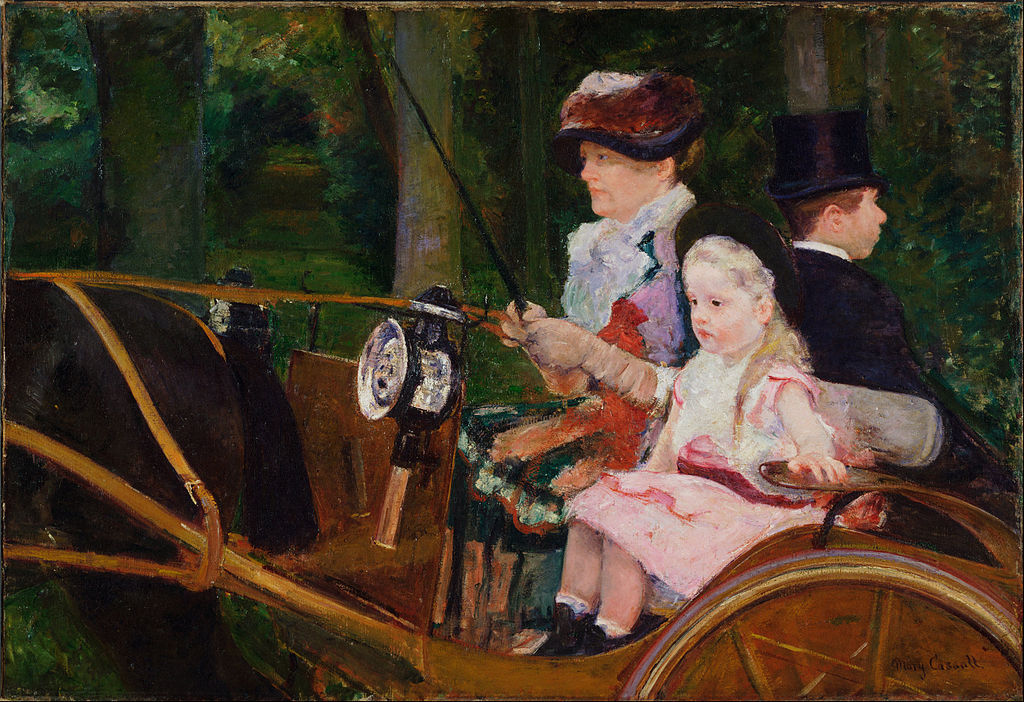 Mary Cassatt famous paintings - A woman & a girl driving