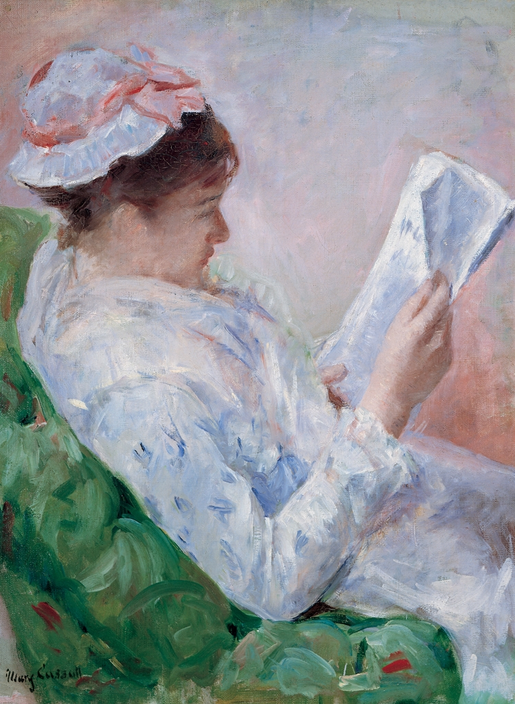 Woman reading a newspaper - Mary Cassatt artwork